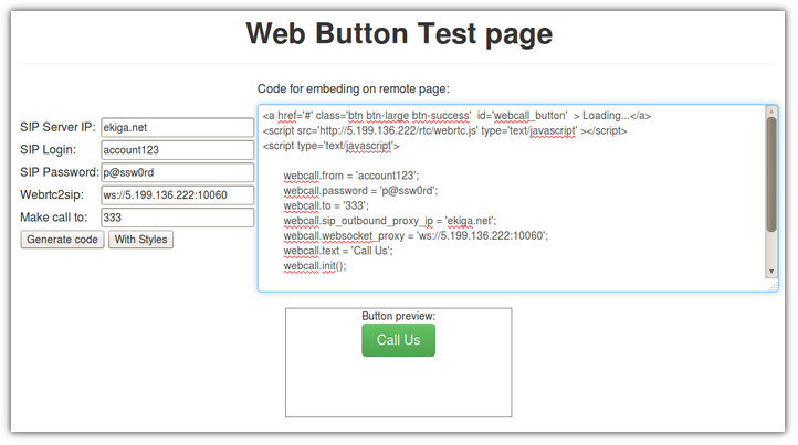 Generation of the HTML for web call button