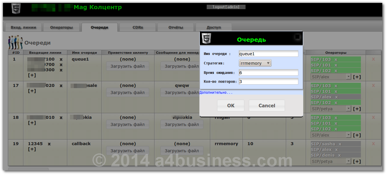 Creating queues, assign DIDs and managers to it