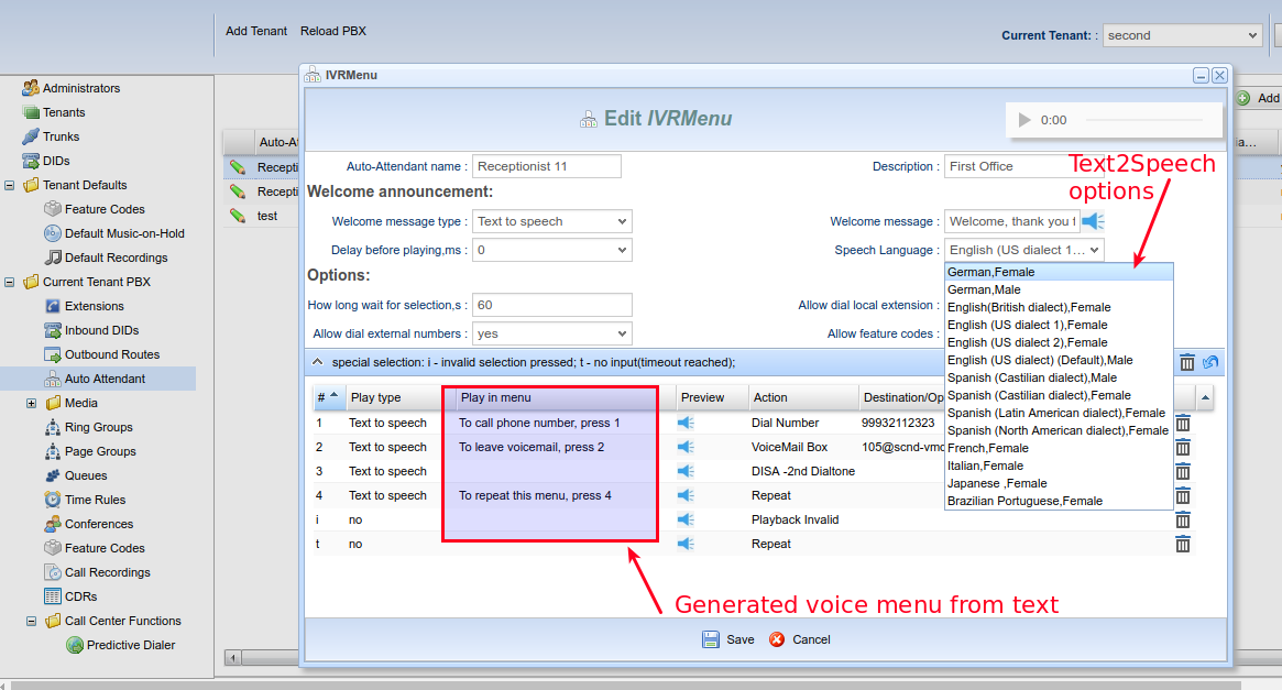 It's cool and interesting  building the multi-language multy-level IVR menu using TTS,